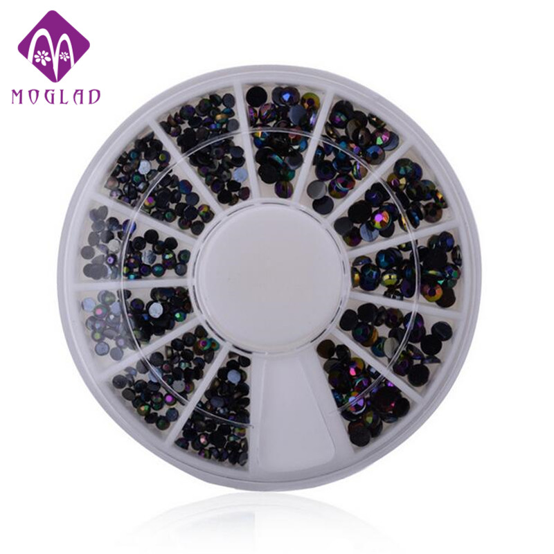 Nail art DIY nail rhinestones decoration 6cm wheel box Black AB color 3 sizes rhinestones for nail art