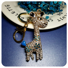 3D Design Cute Crystal Giraffe Style Handbag Charm Accessory Fantastic Key Chain Ornament Gift