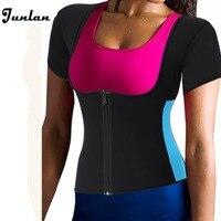 Hot Sweat Slimming Neoprene Shirt Vest Body Shapers For Weight Loss Zipper Waist Trimmer Women Workout