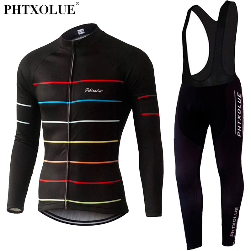 Phtxolue Breathable Bicycle Sportswear Cycling Clothing Long Sleeve Jersey Sets Spring Autumn Bike Jerseys