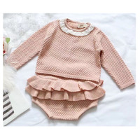 Baby Girls Knitted Set Long Sleeve Sweater + Shorts 100% Cotton Cute Knitting Baby Clothes