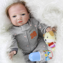 Newborn Silicone Babies Doll Blue Eyes Realistic Reborn Baby Dolls 20 Inch 50 cm Cloth Body Lifelike Boys Toy With Hair For Sale