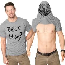2017 Fashion Men Boys Cotton Bear Hug Letter Print T-shirt Animals Print Short Sleeves Lover Summer T Shirt -MX8