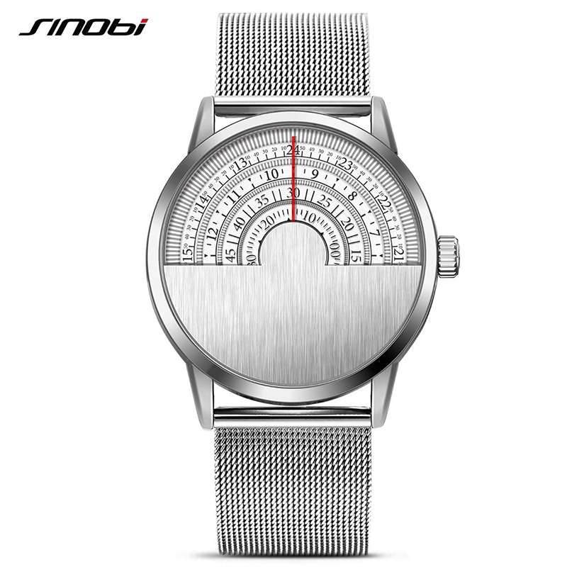 SINOBI Watches Mens Top Brand Luxury Stainless Steel Quartz Watch Silver Wristwatch Relogio Masculino 2018 Male Clock #9748 watches men luxury brand chronograph quartz watch stainless steel mens wristwatches relogio masculino clock male hodinky