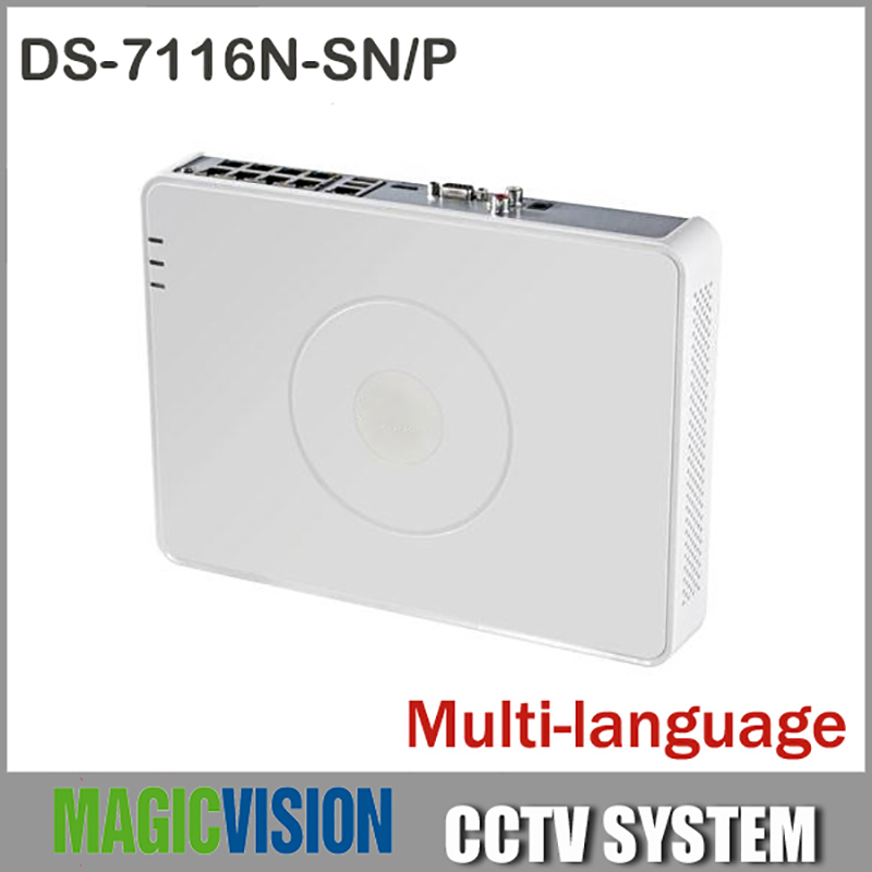 16CH Multi language NVR DS 7116N SN P With 8 POE for HD IP Camera Mini