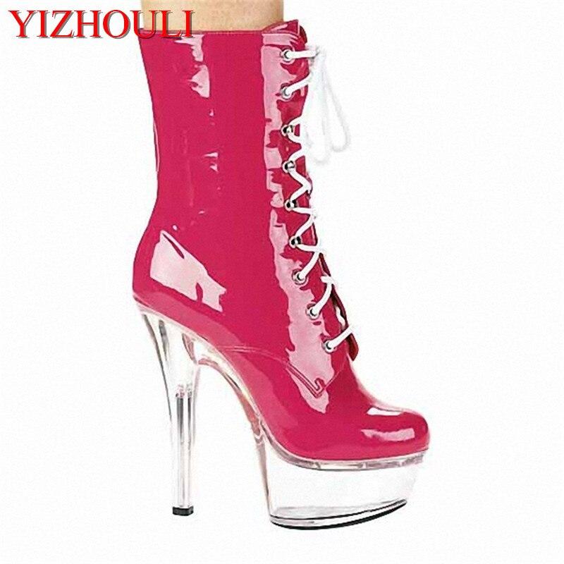 Elegant 15cm Platforms Boots High Heel Shoes, Pole Dance / Model Shoes, 6 Inch Ankle Boots, Sexy 15cm sexy super high heel platforms pole dance performance star model shoes wedding shoes crystal shoes