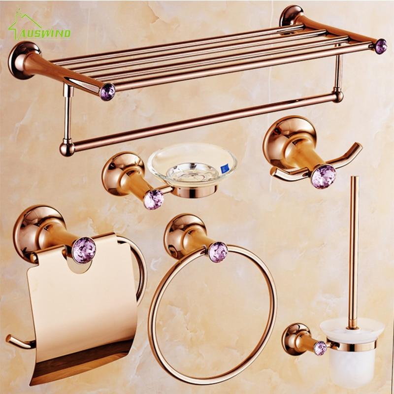 Cristal rose de luxe/diamant cuivre polonais salle de bains accessoires ensembles porte-papier/anneau de serviette/porte-serviettes/porte-savon/crochet de Robe