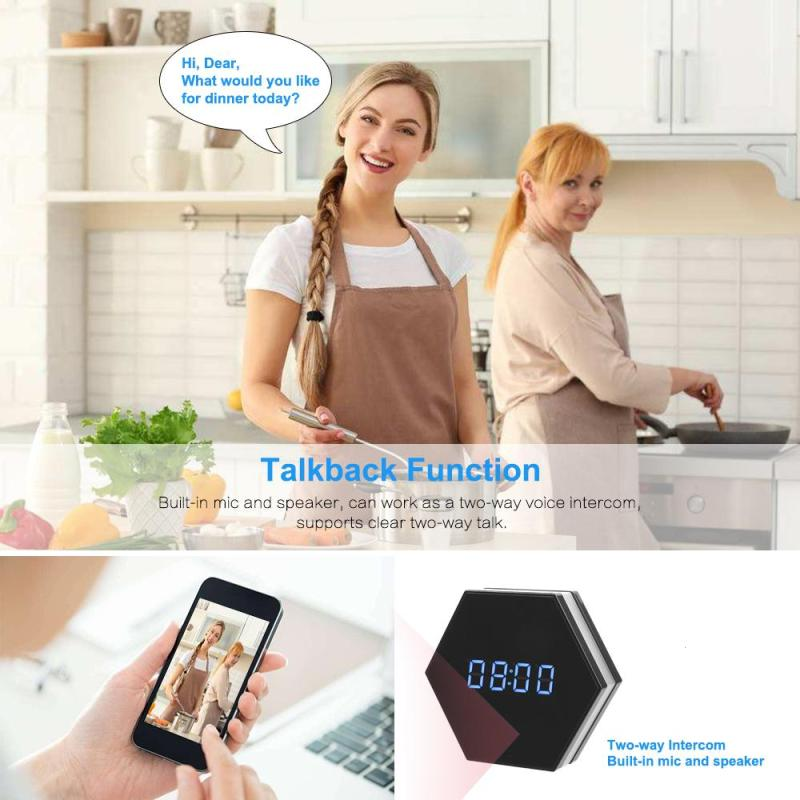 New Wifi Small Camera Motion Night Vision Table Alarm Clock Camcorder Full HD 1080P Cam DVR DV Digital Wireless IP Clock Camera