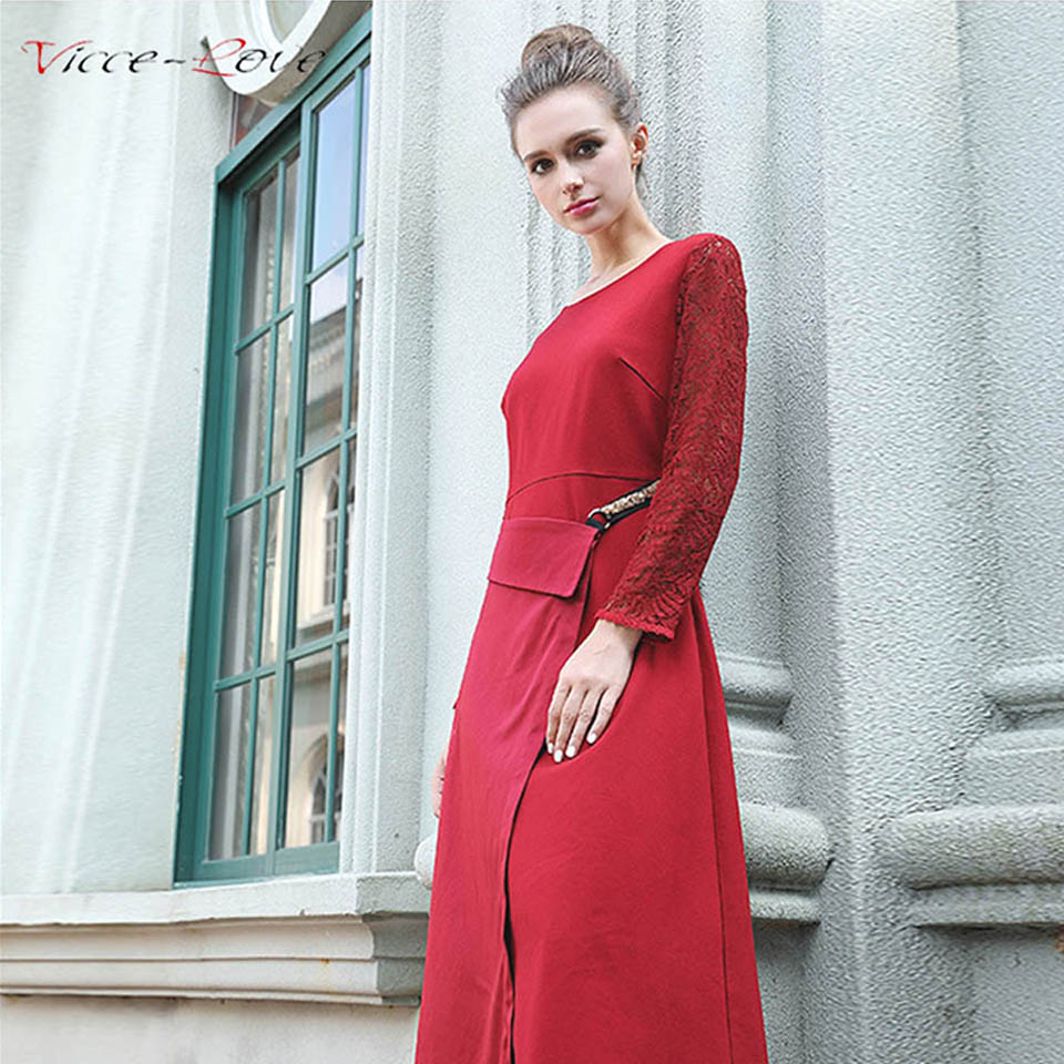 Women Spring Red Lace Dress Chinese Style O Neck Women\'s Evening ...