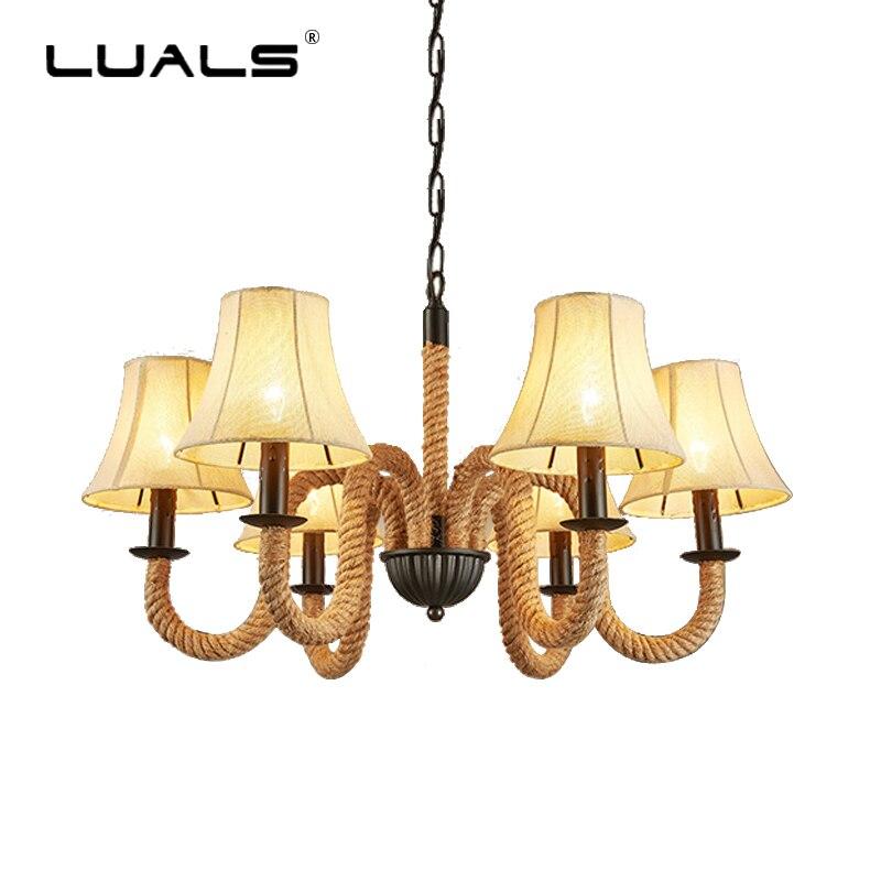 Американский Ретро подвесной светильник в стиле лофт столовая лампа тканевая лампа затененный подвесной светильник Домашний крытый свето