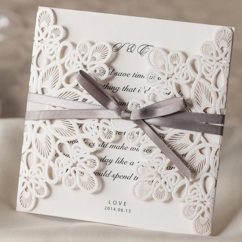 100pcs White Laser Cut Wedding Invitations Card 3D Card Greeting Cards Postcard Printing With Ribbon Wedding Party Supplies