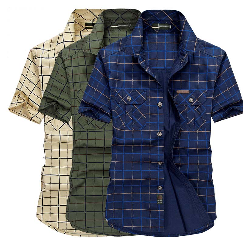 Summer Shirt Mens Short Sleeve Shirts High Quality Cotton Male Plaid Shirt 2 Pockets Plus Size M-5XL Man Clothes