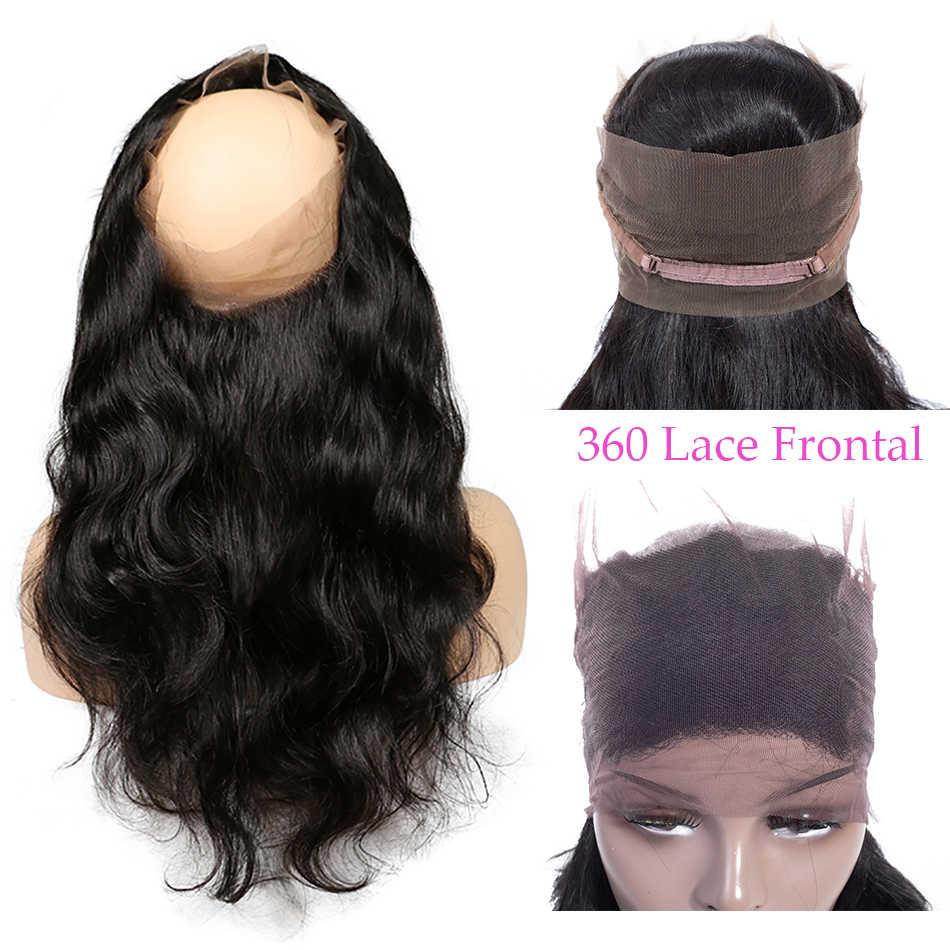 Mifil 360 koronkowe przednie zamknięcie z dzieckiem włosy indyjskie ciało fala Frontal 100% Remy uzupełnienie splotu ludzkich włosów oskubane szwajcarska koronka Frontal