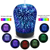 Night light 3D flower vase lamp LED with 16color blub mist diffuser humidification creative purified air plug dragonfly firework