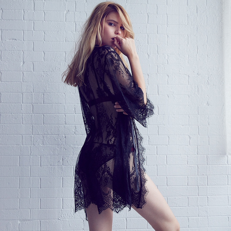 -Sexy-Transparent-Eyelace-Temptation-Mid-Calf-Nightwear-Robes-For-Women-Black-Lace-Robes