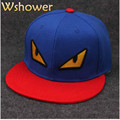 Wshower Flat Brim Patchwork Embroidery Devil Baseball Cap Hip Hop Casual Outdoor Sports Snapback Hat Bone For Male Female Gorra