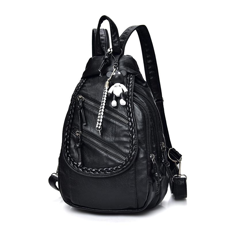 Women Backpack Quality Soft PU Leather School Bags For Teenagers Girls Backpacks Bear Pendant Fashion Travel