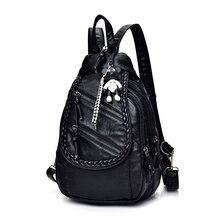 Женщины рюкзак качество из мягкой искусственной кожи Школьные ранцы для подростков девочек Рюкзаки медведь подвеска мода путешествия рюкзак Mochila