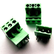 10 sets 5.08 3pin Right angle Terminal plug type 300V 10A 5.08mm pitch connector pcb screw terminal block Free shipping
