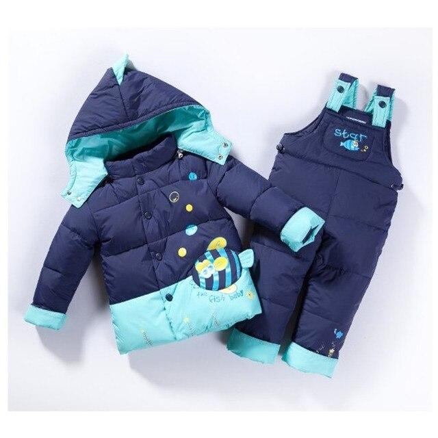 2016 ребенок Дети мальчики девочки зима теплый пуховик костюм установить толстый слой + комбинезон детская одежда набор детей куртка животных рыбы j08