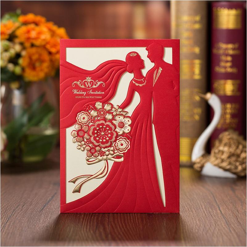 Romantic Customized Printing Wedding Invitations Red Bridal & Groom ...