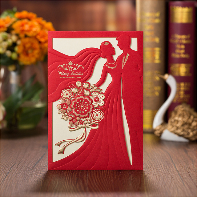 Romantic Customized Printing Wedding Invitations Red Bridal  Groom