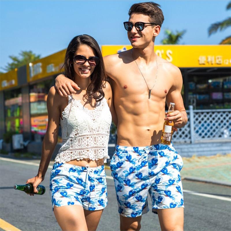 WD888 fly bird printing couples swimwear set honeymoon vacation beach board leisure shorts swimwear men women swimsuit sunga