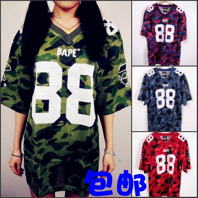 6401f2db3 Bape hiphop mesh Camouflage rugby clothing basketball clothes short-sleeve T -shirt plus size