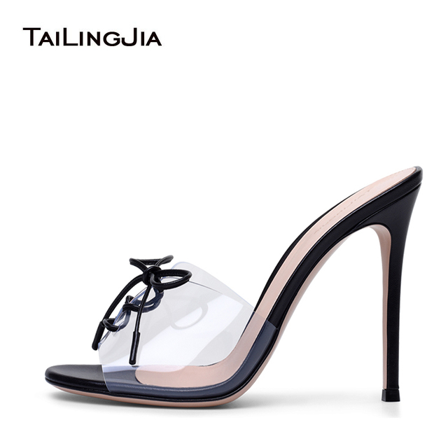 Transparent Plexi High Heel Mules Pvc Peep Toe Lace Up Sandals Sexy
