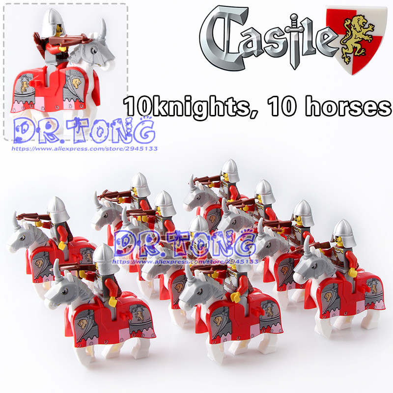 DR.TONG 20pcs/lot War Horse Knights King Mini Dolls Super Heroes Medieval Rome Knights Building Blocks Bricks Toys Children Gift vibration type pneumatic sanding machine rectangle grinding machine sand vibration machine polishing machine 70x100mm