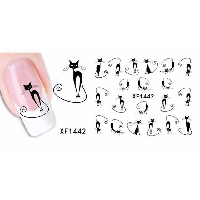 1sheet Cute Black Cat Nail Sticker Nail Art Water Transfer