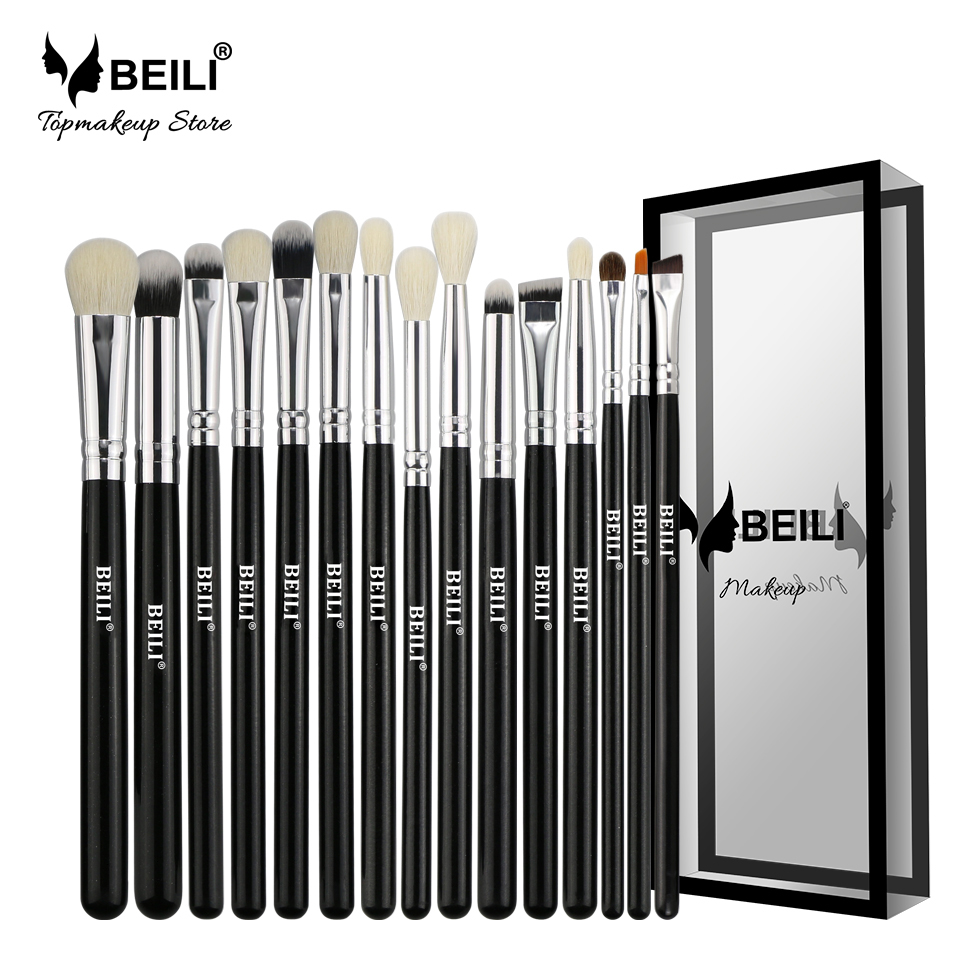 BEILI Black 15Pcs Natural Goat Pony hair Eye shadow Blending Eyeliner Eyebrow Smoke shade Makeup brush Set beili 234 natural goat hair pink smoky shade single eye shadow definer makeup brushes