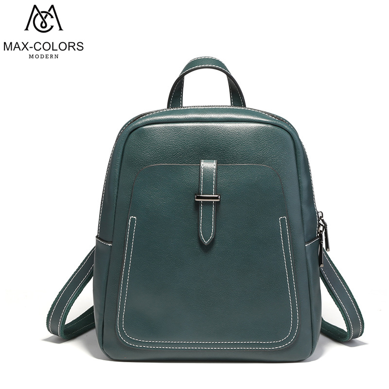 MC New Fashion Women Genuine Leather Backpack Mini Travel Bag School Backpack Multifunction Shoulder Bags Simple Cow Leather Bag wheel up bike head light cycling bicycle led light waterproof bell head wheel multifunction mtb lights lamp headlight m3014