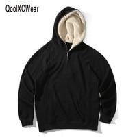 QoolXCWear Oversized Sherpa Hoodies 3 Colors Side Split Streetwear Fleece Zipper Sweatshirts Justin Bieber Skateboard Q2003