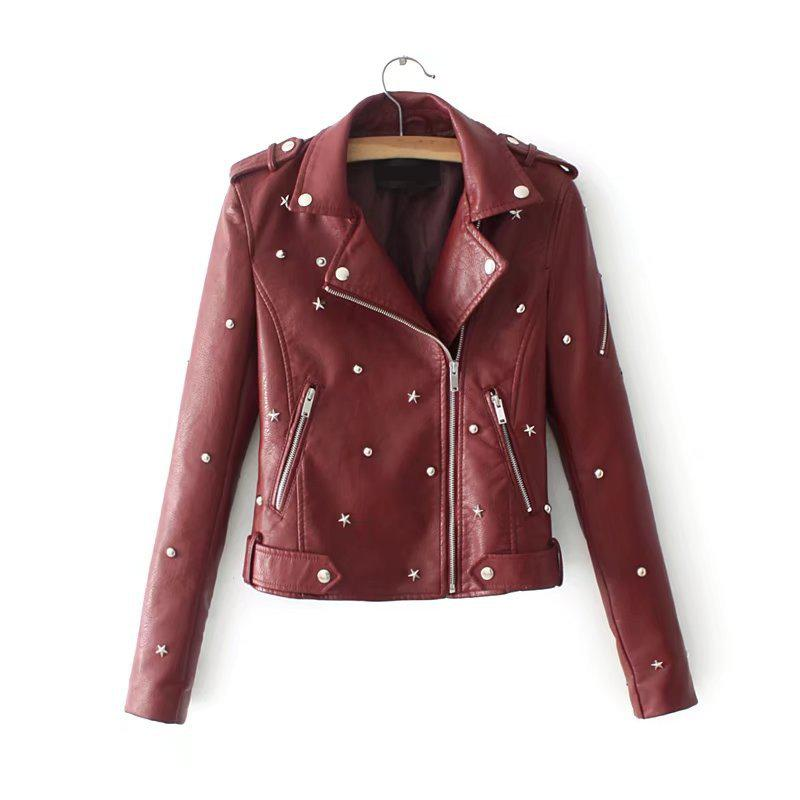2019 Spring New Arrival European & American Style Fashion Trend Rivets Decorated Women   Leather   Jacket With Zippers Free Shippin