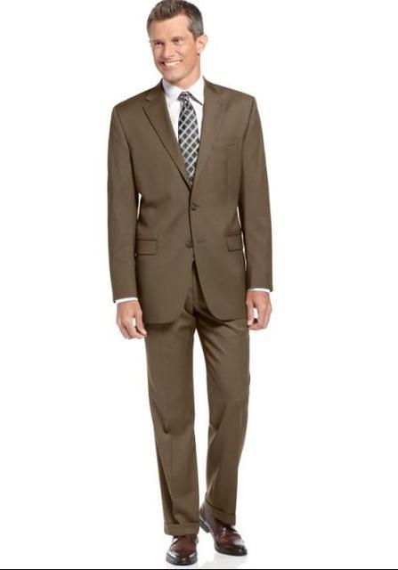 Nova Chegada Centro Vent Noivo Smoking Notch Lapela Padrinho de casamento do Terno dos homens Marrom Do Pai Da Noiva Ternos (Jaqueta + calças)