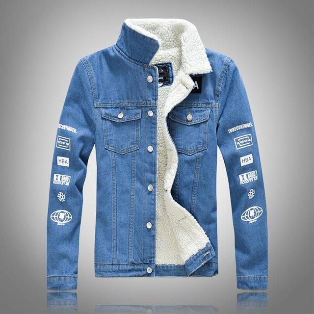 Denim Jacket Fur Collar Men Velvet Jeans Jacket Men Fashion Winter