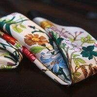 High Quality Flowers Decorative Silk Scarf Small Square Scarf Office Lady Handbag Decor 100 Silk Scarf