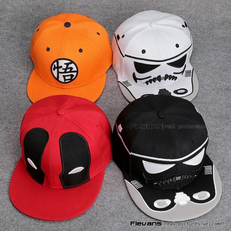 Prix pour Star Wars Deadpool Dragon Ball Snapback Casquettes chapeau Frais Adulte Lettre Casquette de baseball Bboy Hip-Hop Chapeaux Pour Hommes Femmes ANHT092