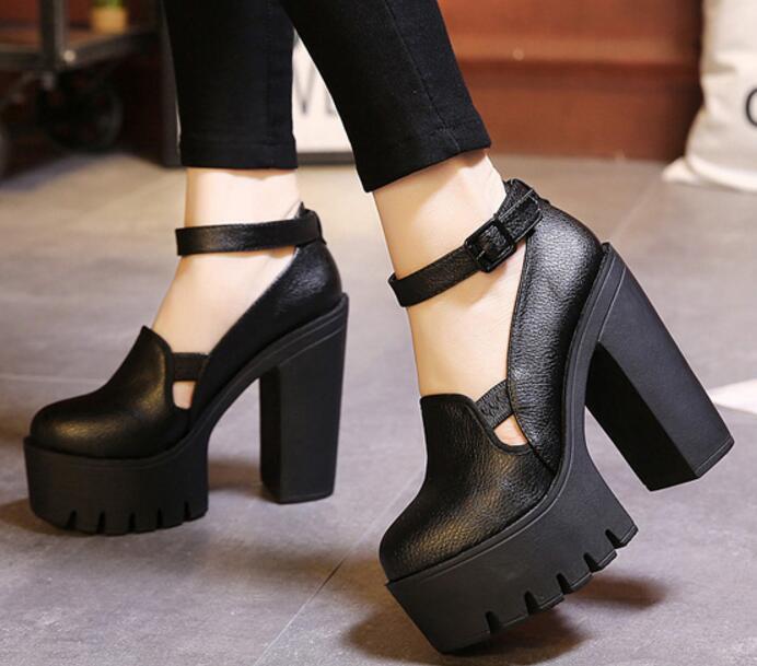 Plate Femmes Zapatos Sapato Filles Talons Black P170058 Cheville Gladiateur Féminin Femme Haute Mujer Chaussure Pompes Boucle forme Chaussures wBq41qz
