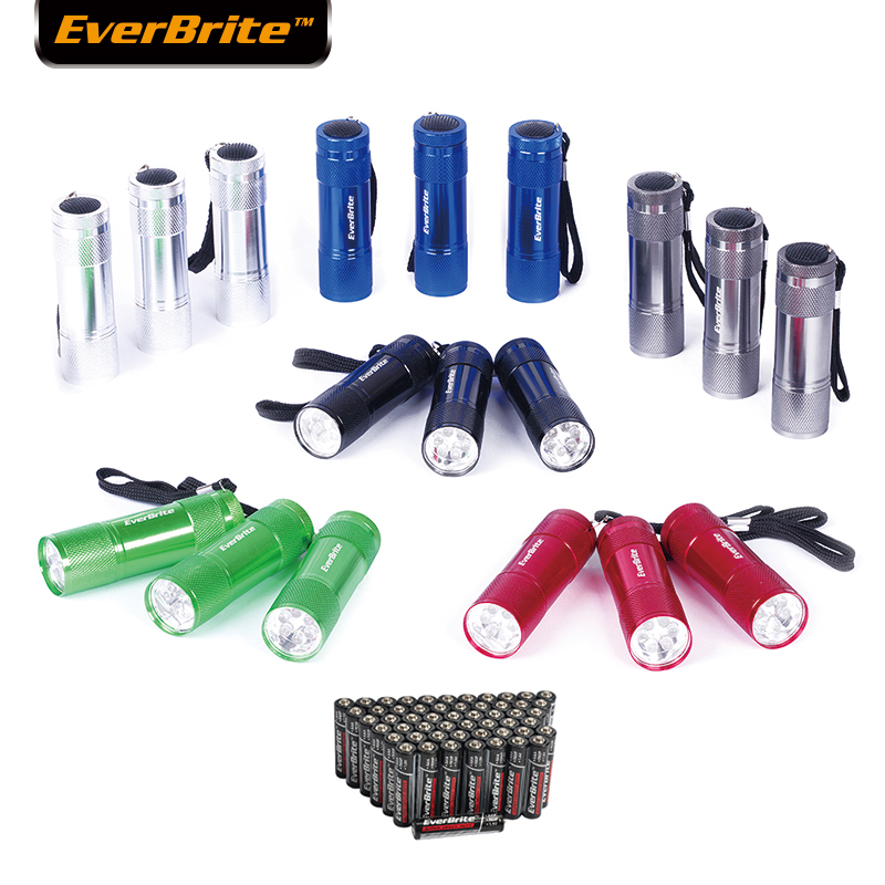 Everbrite Senter Taktis Mini LED Torch Light LED Powerfull Flash light Zoomable Lampu Senter 18 PC / Lot