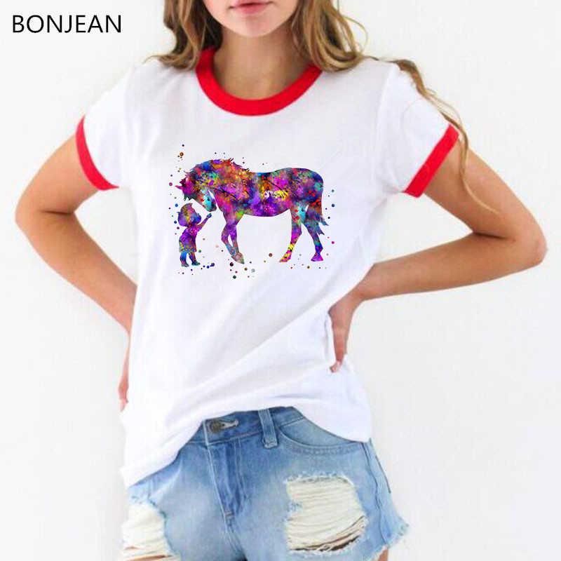 Mới đến năm 2019 Vui t áo sơ mi màu nước cậu bé và con ngựa in tee áo sơ mi femme dễ thương cô gái giản dị màu trắng t-shirt nữ hàng đầu