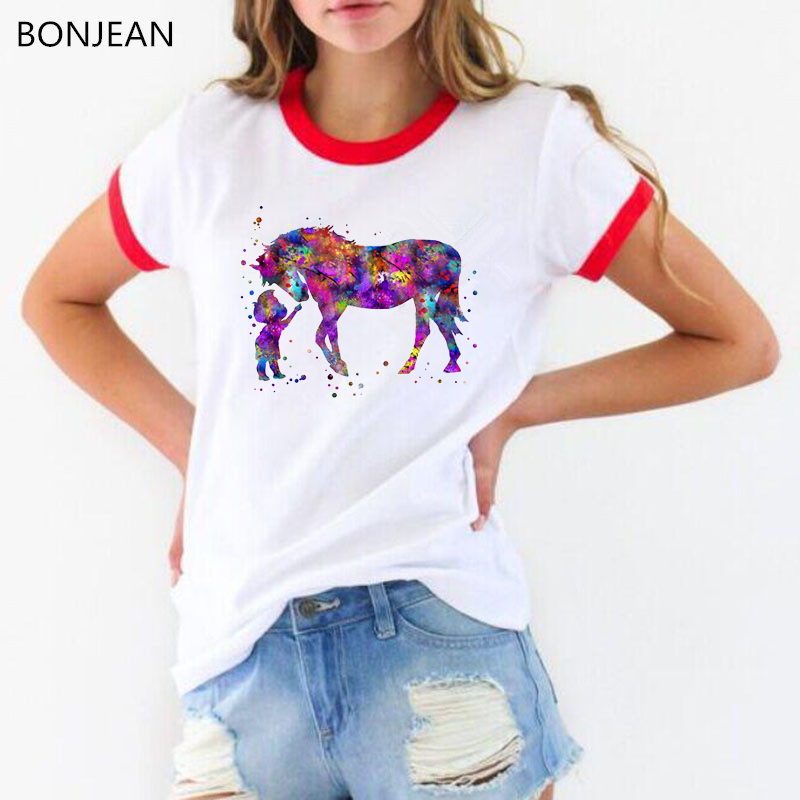 New Arrival 2019 Funny T Shirt Watercolor Little Boy And Horse Print Tee Shirt Femme Cute Casual Girl White T-shirt Female Top
