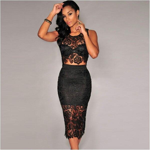 e7c1fe8e933b 2 Piece Set Women Two Piece Outfits Black White Lace Dress Female Club Wear  Knee Length Tunique Sexy Midi Bodycon Dresses Lady