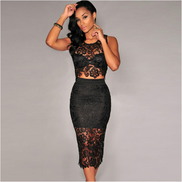 2 Piece Set Women Two Piece Outfits Black White Lace Dress Female