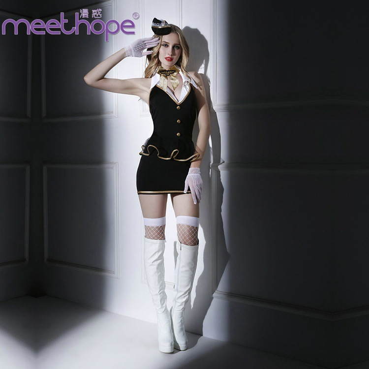Sexy Uniform Black Flight Attendant Costume Temptation Game Cosplay Clothes Christmas Short Sleeveless Tops Sexy Set + Gloves image