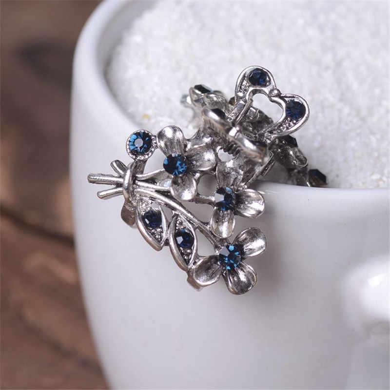 Vintage Flowers Hair Clip Ancient Silver Metal Hair Claws For Women Hair  Jewelry Rhinestone Crab Clip d20e60ae6ee0