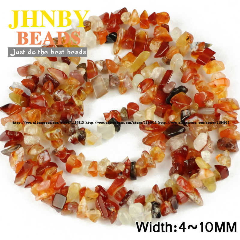 Jhnby Merah Carnelian Tidak Teratur Kerikil Batu Manik-manik Batu Alam 86 Cm Panjang Keripik Manik-manik Perhiasan Gelang Membuat Diy