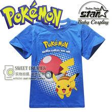 2016 New Arrivals Brand Clothing Anime Cartoon Pokemon Pikachu t shirt for Kids Unisex Boy Girls