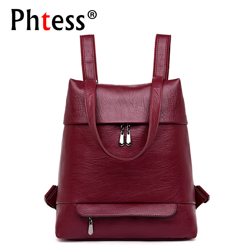 купить 2018 Women Leather Backpacks For Girls Sac a Dos Preppy Style School Bags Ladies Bagpack Vintage Travel Back Pack Rucksacks Girl по цене 1630.58 рублей